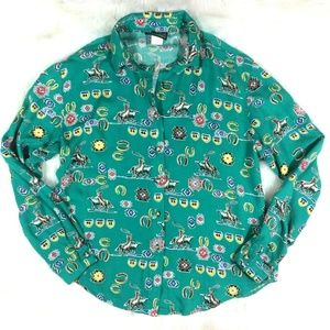 Vintage Green Rodeo Western Button Front Shirt